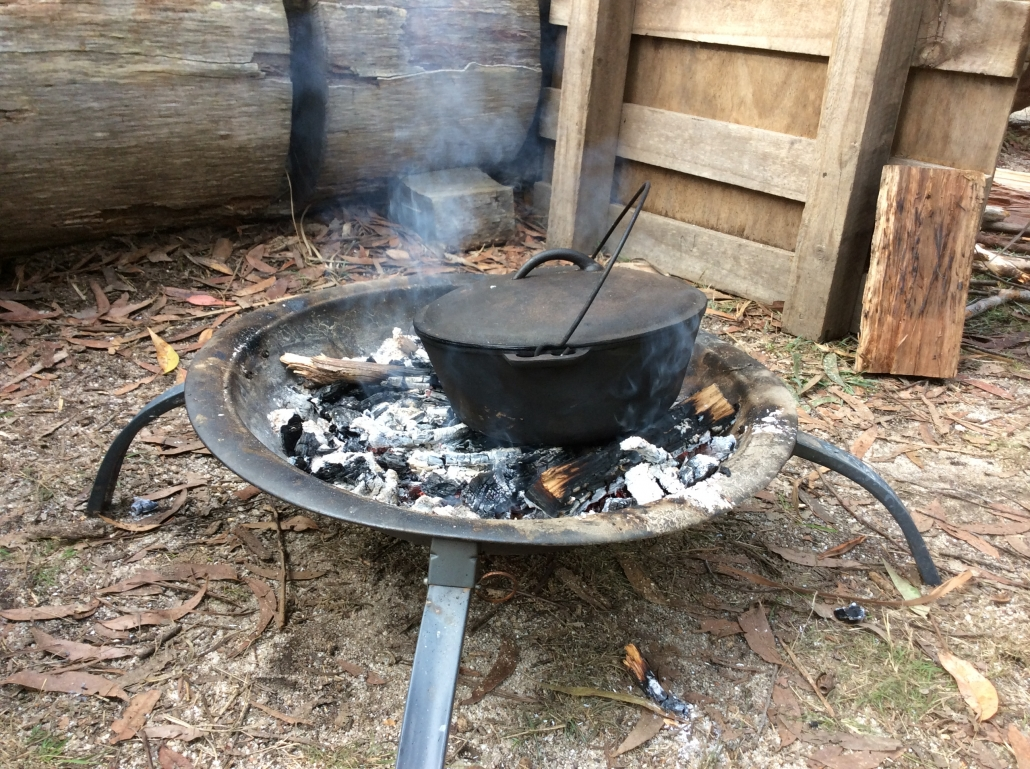 Damper cooking on the campfire.
