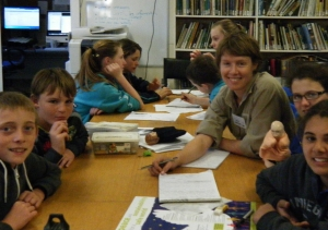 Students with teacher Ally Madden