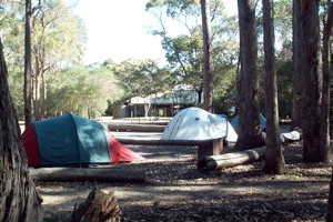 Camping at Hobart beach