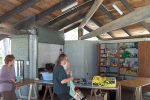 Kitchen area at Hobart Beach Shelter Shed