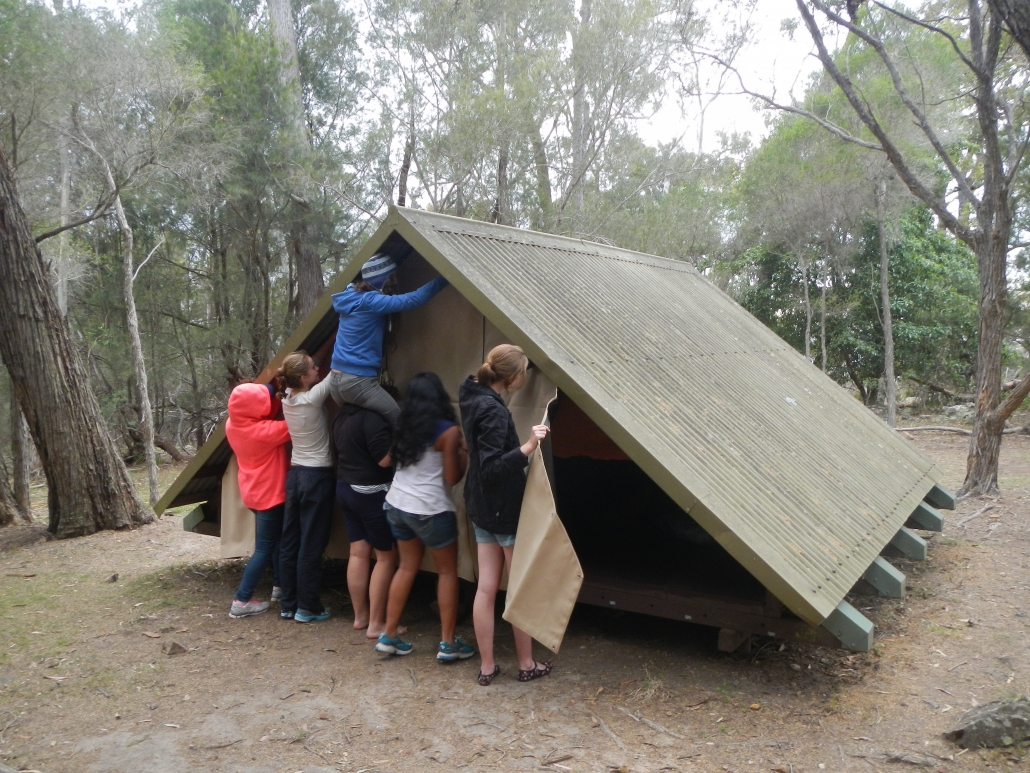 Students setting up camp