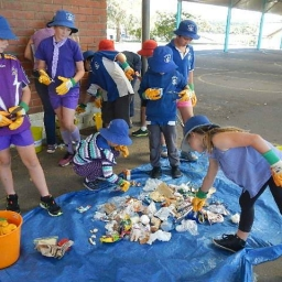Students conducting a waste audit