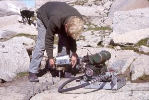 CSIRO scientist Dane Wimbush drilling rock samples