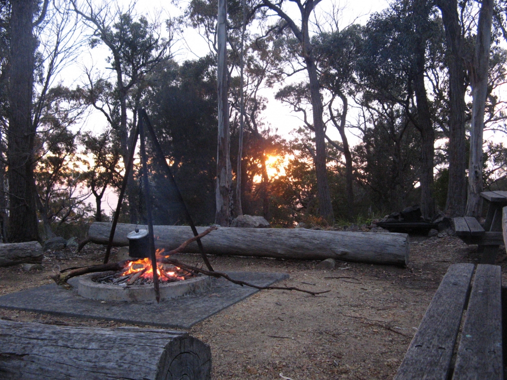Early morning campfire at the Field Studies Huts