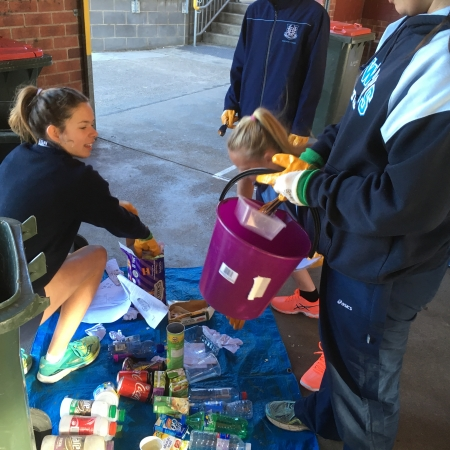 Bega High School sorting waste
