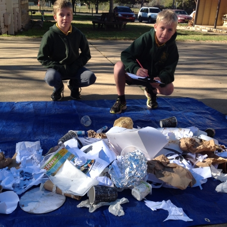 students running a waste audit of playground rubbish