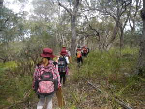 students walking through the bush