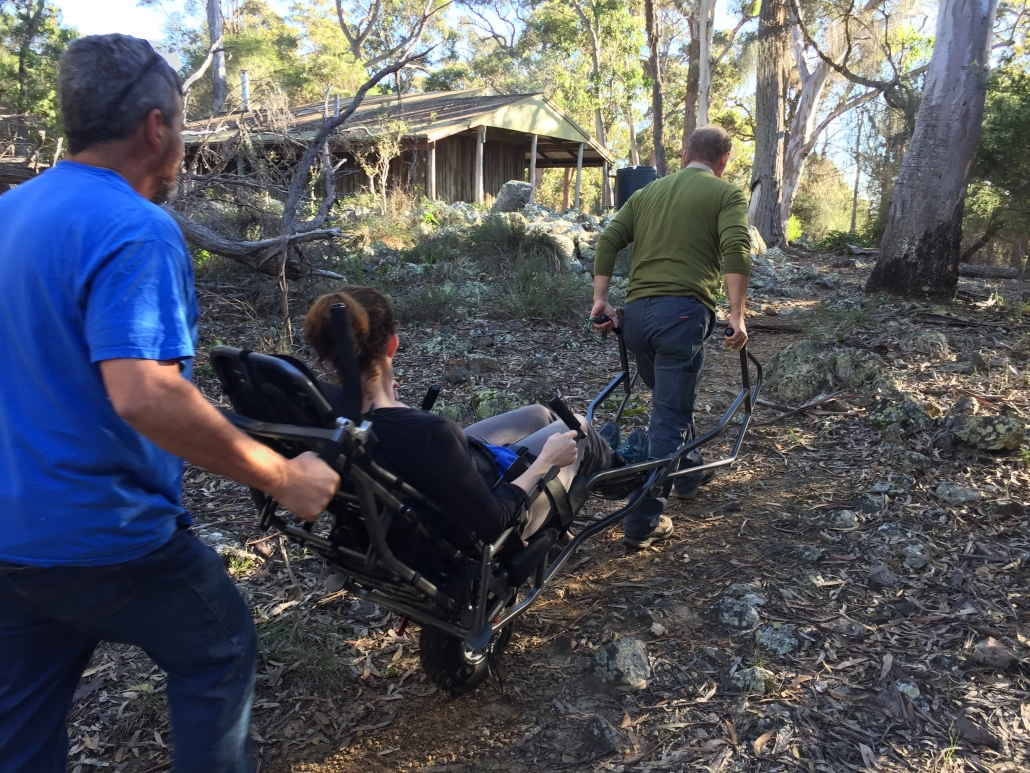 Trail rider wheel chair in action