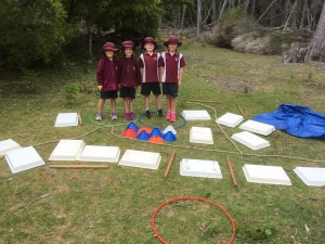 ES1 students making a map