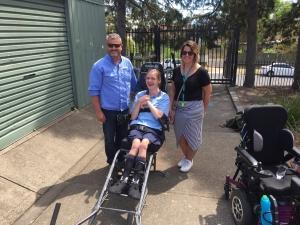 Student accessing Trailrider all terrain wheelchair