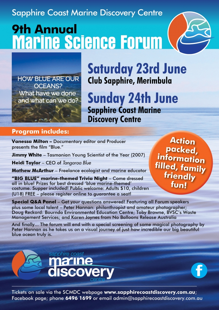 Sapphire Coast Marine Discovery Centre Annual Marine Science Forum poster