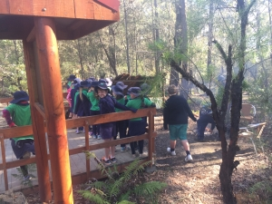 Students learning about Aboriginal culture at Jigamy
