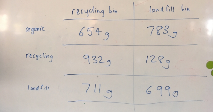 Results from the waste audit