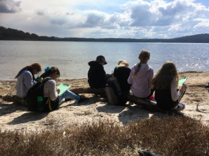 Students by the lake