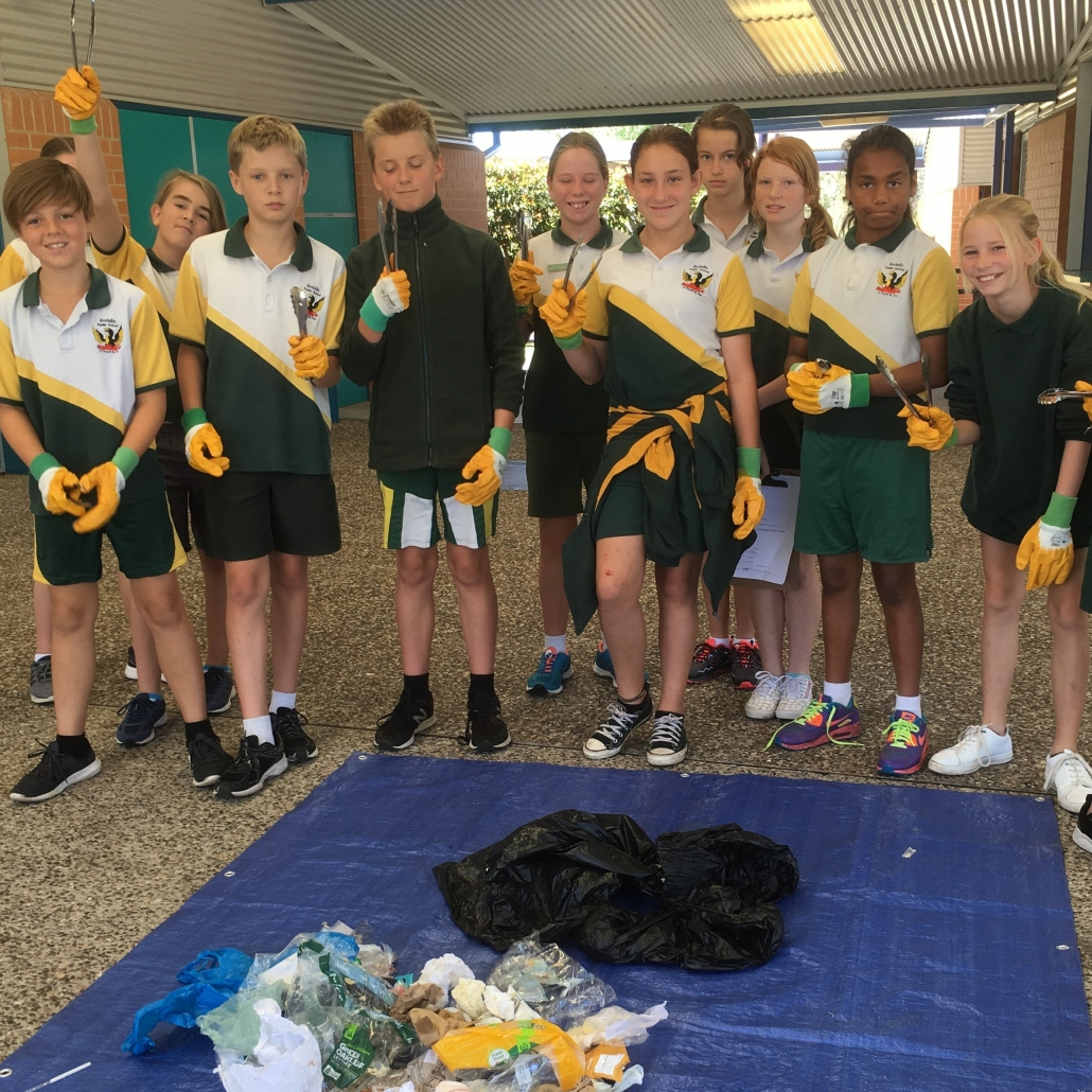 students completing a waste audit