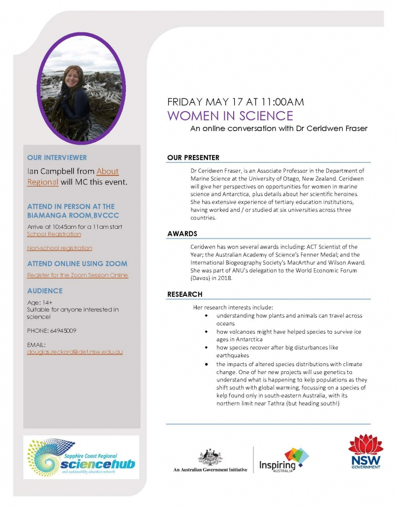 Flyer for Women in Science webinar