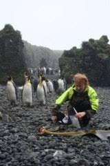 Dr Crid Fraser amongst kelp