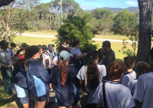Student group observing coastal hazards