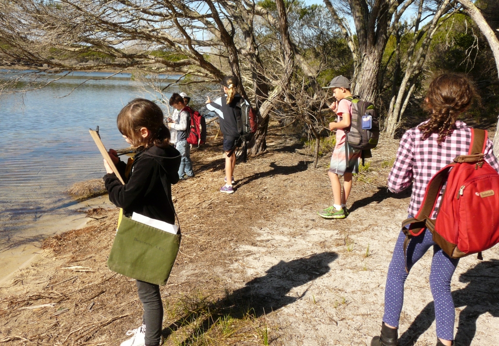 Stage 2 Students recording data by Wallagoot lake