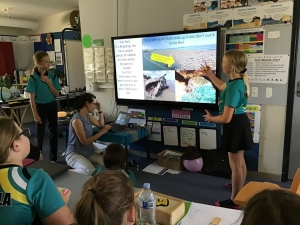 students presenting a powerpoint about waste