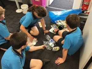Students playing a waste sorting game